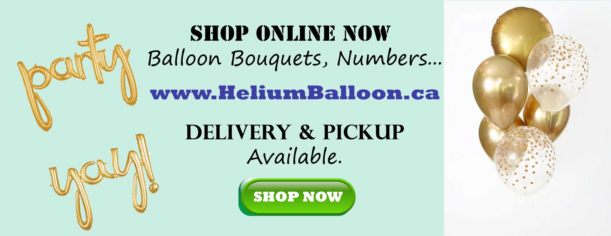 Delivery Helium Balloon Shop online Montreal Laval Longueuil